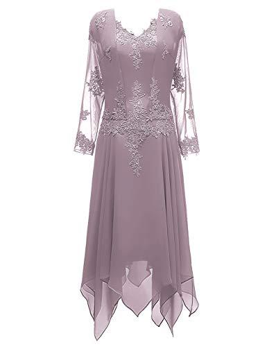 HUINI Brautmutterkleider mit Jacke Lang Abendkleid Spitzen Hochzeitskleid Festkleider Langarm Ballkleider Mauve 52