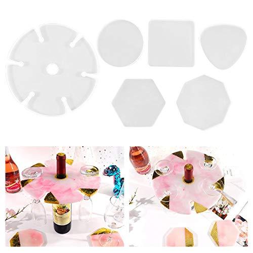Keyzone Juego de 6 moldes de resina de silicona epoxi, para botella, con 6 ranuras, hexagonales de silicona moldeada para decoración del hogar