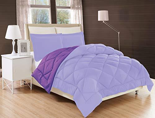 Elegant Comfort All Season Comforter and Year Round Medium Weight Super Soft Down Alternative Reversible 3-Piece Comforter Set, Full/Queen, Lavender/Purple