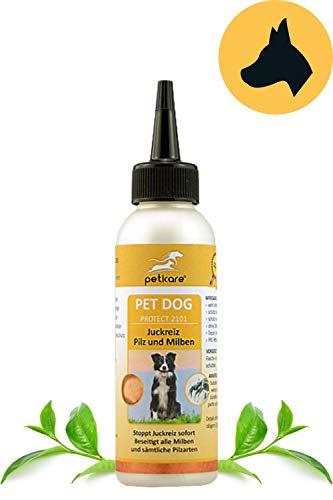 Peticare Spezial-Pflege bei Juckreiz, Milben beim Hund - Stoppt effektiv Jucken durch Pilzbefall und Milbenbefall, rein pflanzliche Inhaltsstoffe - petDog Protect 2101