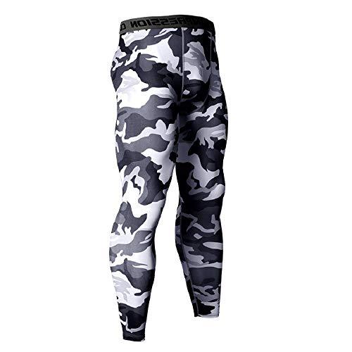 Ducomi Kompressions-Sportbekleidungshose - Dehnbare Yogahosen für Männer - Camouflage-Sportstrumpfhose - Fitness-Fitnessstudio für Männer Jogging Running Leggings - (Weiß/M)