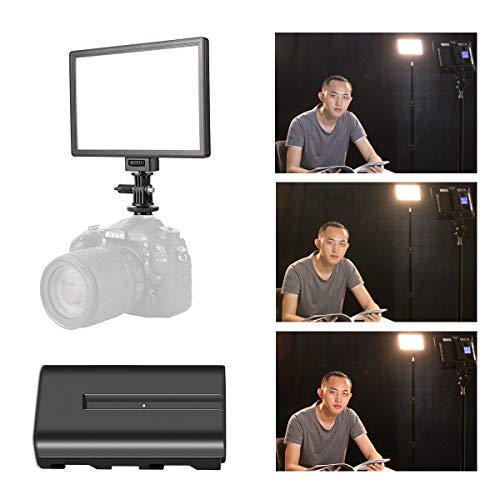 SUPON LED-L122T RA CRI95 Super Slim LCD Display Lighting Panel,Portable Dimmable 3300K-5600K LED Video Light Compatible for Canon,Nikon,Pentax,Sony,Olympus Cameras&Camcorder,Shooting& NP-F550 Battery