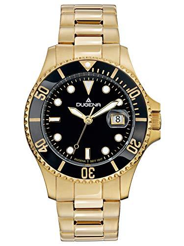 Dugena Herren Quarz Armbanduhr Diver mit Edelstahlband Schwarz/Goldfarben 4461010