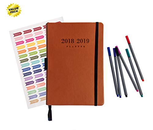 """2019 Organizer Planner - 5""""x8"""" Hardcover, Yearly, Weekly, & Monthly Organizer - Bonus: Calendar Stickers and 6 Pack of Pens included [January 2019 - December 2019] Pacific Merchandising"""