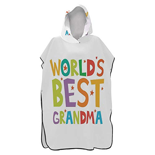 AmaUncle Grandma, Cartoon Style Lettering Worlds Best Beach Surf Poncho,Hooded Towel Microfiber Quick-Drying Bathrobe,Travel Beach Bath Towel for Adults No16503