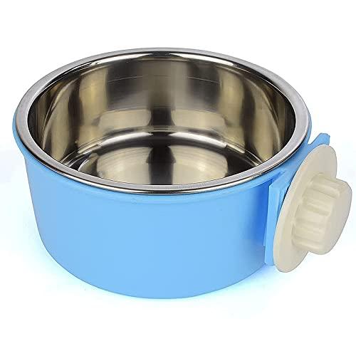 GreeSuit Comedero perros de acero inoxidable Animales domésticos colgantes jaula extraíble acero inoxidable alimentos agua azul cuencos para perros gatos pequeños animales