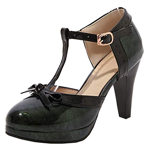 Damen Blockabsatz High Heels Plateau Pumps mit T Steg 9cm Absatz Rockabilly Schuhe(Grün,37)