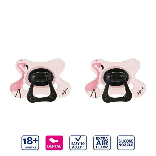 Difrax Leuchtender Schnuller 18-36 Monate 2 Stück Dental Pink - Kiefergerechte Form - Mädchen, Night, Silikon, Schnelle Akzeptanz, Luftiges schilddesign
