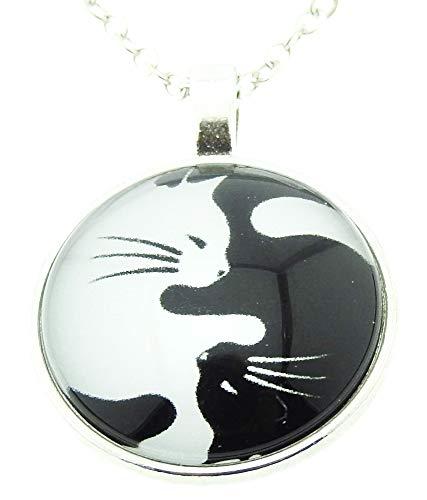 Vrouwelijke ketting - vrouw - tao - yin yang - medaillon - hanger - cabochon - katten - zwart wit - kittens - origineel cadeau idee