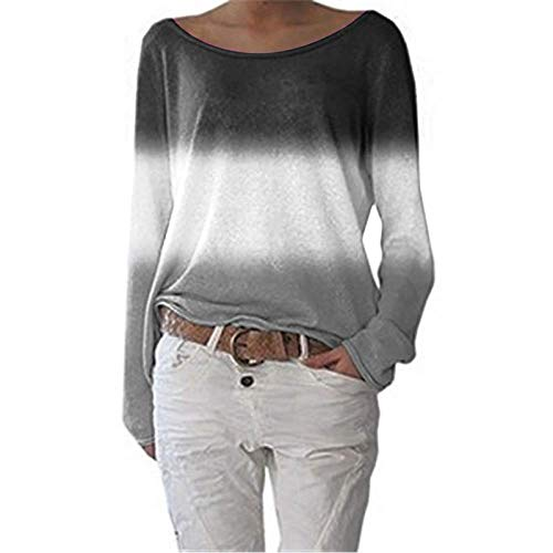Camiseta de Manga Larga Informal con Cuello Ancho y Cuello Ancho con Degradado Superior para Mujer