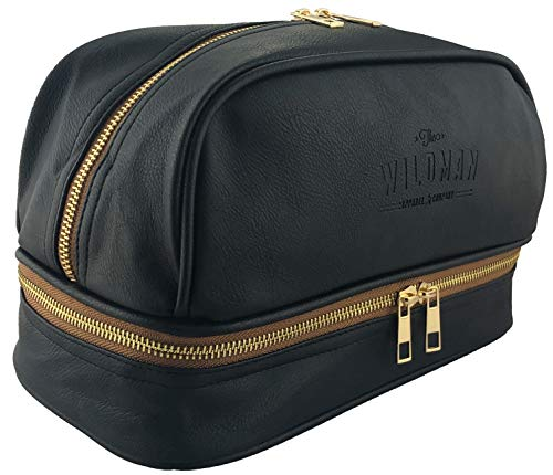 Mens Large Toiletry Bag - Wash Bag, Water Resistant Lining, Double Layer Compartments,...