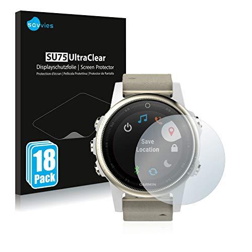 Savvies 18x Schutzfolie kompatibel mit Garmin Fenix 5S (42 mm) Bildschirmschutz-Folie Ultra-transparent