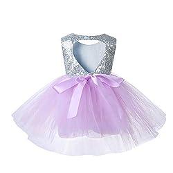 Lightpurple Tulle Tutu Baby Dress With Sequins
