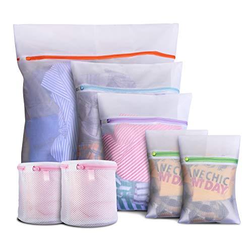 7PCS Bolsa de Lavadora Malla, Bolsa de Lavandería Cremallera, Bolsas para Colada:1 Extra Grande &1 Grande& 1 Mediana & 2 Pequeñas & 2 Cilíndricas