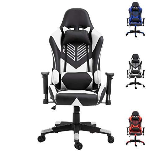 Gaming Stuhl Bürostuhl Schreibtischstuhl mit Armlehne Gamer Stuhl Drehstuhl Höhenverstellbarer Gaming Sessel PC Stuhl Ergonomisches Chefsessel (Weiß + Schwarz)