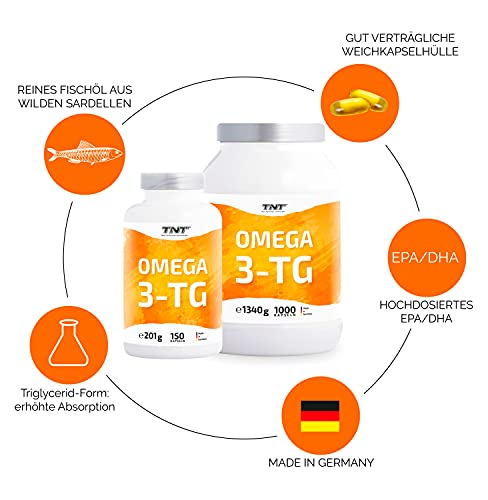TNT Omega 3-TG │ Hochwertige und essentielle Fettsäuren │ Fischölkapseln mit EPA und DHA unterstützen die Gesundheit, Fitness und das Immunsysstem │150 Kapseln - 3