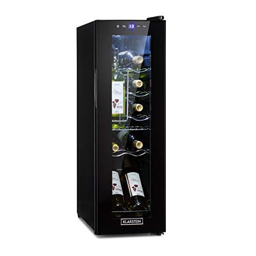 KlarsteinShiraz 12 Slim Nevera para vinos - Refrigeración 5 a18 °C, 32 litros volumen, 12 botellas, Eficiencia A,...