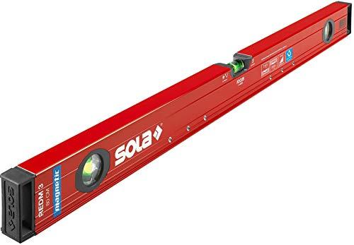SOLA RedM 3 magnetische Wasserwaage in 80 cm I starker Halt durch Neodym Magnete I mit patentierter SOLA-Focus Libelle und SOLA-Leuchtbelag I mit 2-K-Endkappen für optimalen Schutz (80)