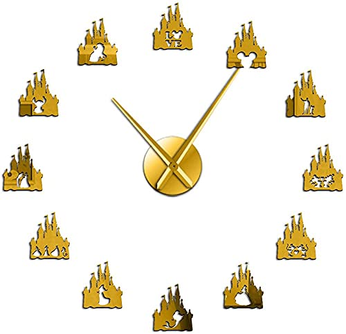 Reloj de pared Princesa Castillo Espejo Superficie Etiqueta Diy Reloj de Pared Niñas Sala de Dibujos Animados Estilo de Pared Reloj de Pared Hada Acrílico Arte