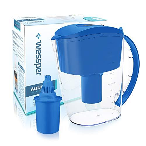 Wessper Wasserfilter Krug 3.5L AQUApro mit 1 alkalische Filterkartusche, BPA-frei, Elektro.Timer, Blau