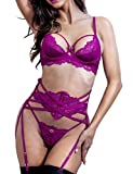 Women Sexy Lace Lingerie Set, Bra and G-String Corset with Garter Belt 3 Piece Teddy Bustier Lingerie Set Rose Violet 36C
