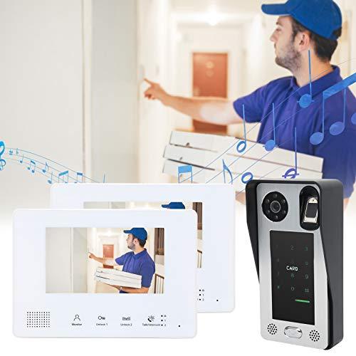 Videoportero, compatible con 500 huellas dactilares Múltiples métodos de desbloqueo 6 monitores de interior Videoportero Teléfono Conexión de cable flexible para control de acceso doméstico
