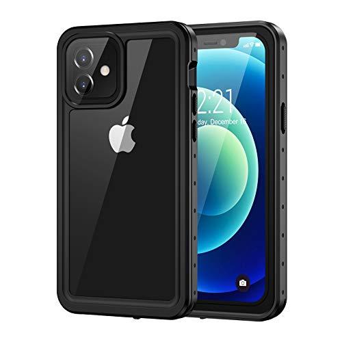 Lanhiem Funda iPhone 12 Impermeable, [No para iPhone 12 Pro] Carcasa Sumergible Resistente Al Agua IP68 [Protección de 360 Grados], Carcasa para iPhone 12 5G con tector de Pantalla Incorporado