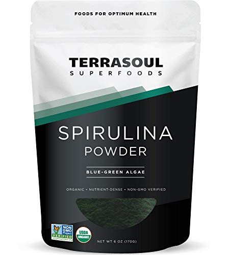 Terrasoul Superfoods Organic Spirulina Powder, 6 Oz - High in Protein   Lab-Tested   Grown in India