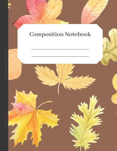 Seasonal Notebooks - Pretty and Light Watercolor Leaves: Autumn Journal Composition Notebook: Wide Ruled lined 120 pages 8.5 x 11 - seasonal gifts for women