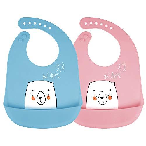 Bavaglino in silicone mreechan, set da 2 pezzi, con custodia lavabile, silicone sicuro, ipoallergenico, bavaglino simpatico orso bianco, adatto al bambino da mangiare
