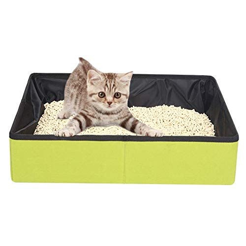YAOUFBZ Collapsible Portable Cat Litter Box,Foldable Lightweight Travel Cat Litter Tray for Small Medium Large Cats,Easy Carry M