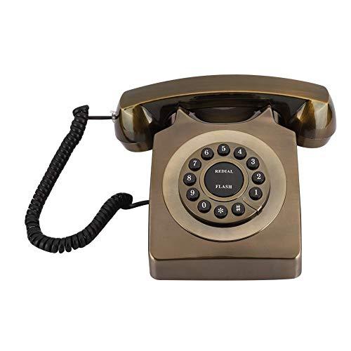 Topiky Teléfono Retro, Teléfono Antiguo de Bronce Antiguo Teléfono Fijo Llamada de Escritorio Botón de la Oficina en casa Marcación del teléfono