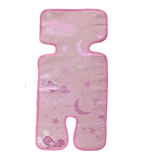 JSJJAKM Cojín de seda para cochecito de bebé de verano, colchonetas, para silla de coche, accesorios para cochecito de bebé, color rosa