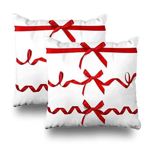 GFGKKGJFD Juego de 2 fundas de cojín de seda roja con cintas horizontales de lazo blanco, 18 x 18, para sofá, adolescentes, niñas, regalos