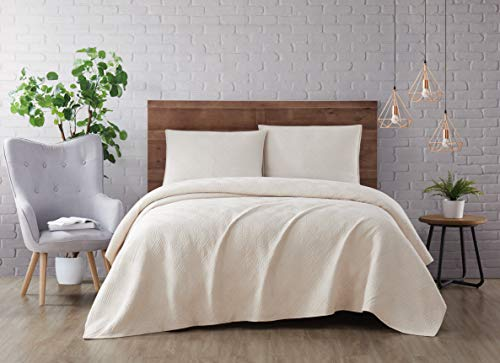 Brooklyn Loom Washed Rayon Basketweave Quilt Set, King, Natural