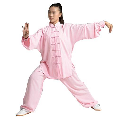 Mujer Unisex Artes Marciales Tai Chi Kung Fu Uniforme Ropa Hebilla Wushu Traje Traje De Dos Piezas Pink XS