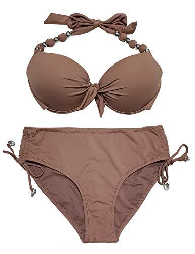 EONAR Damen Zweiteilige Bikini Set Neckholder Badeanzug Push up Bikini Oberteil Mit High Waist Bikini Bottom Sport Abnehmbar Bademode(L,Khaki)