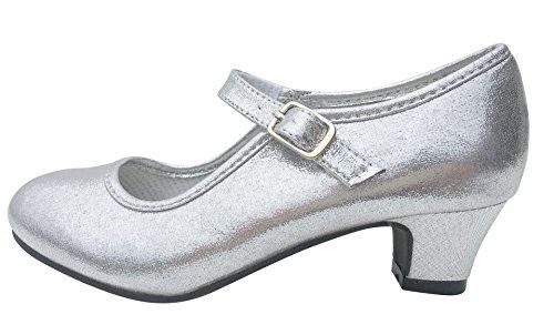 La Señorita Zapato Elsa Frozen Plata Purpurina Flamenco Sevillanas de la Princesa niña (Talla 37-23,5 cm, Plata)