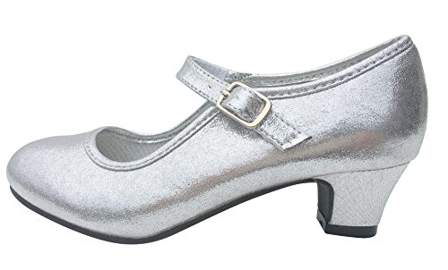 La Senorita Prinzessinnen Schuhe Silber ELSA Frozen Spanische Flamenco Schuhe (Größe 36 - Innenmaß 23 cm, Silber)