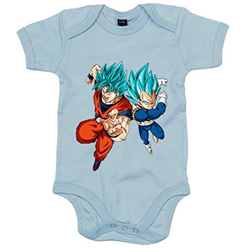 Body bebé Ilustración Goku y Vegeta en nivel Super Saiyan Dios pelo azul - Celeste, 12-18 meses