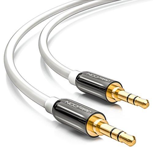 deleyCON 5m Klinkenkabel 3,5mm AUX Kabel Stereo Audio Kabel Klinkenstecker gerade für PC Laptop Handy Smartphone Tablet KFZ HiFi-Receiver - Weiß