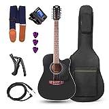 vangoa chitarra a 12 corde acustica elettrica chitarra cutaway 4 bande eq chitarra per principianti 41pollice, nera