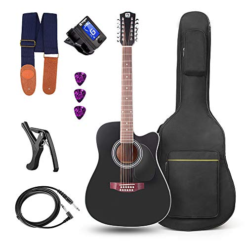Vangoa 12 saitige Westerngitarre mit Tonabnehmer 4-Band EQ Elektro Akustische Gitarre 41 Zoll, Schwarz