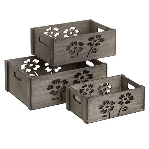 Set de Cajas de Flores de Madera Gris romántico para decoración Bretaña - LOLAhome