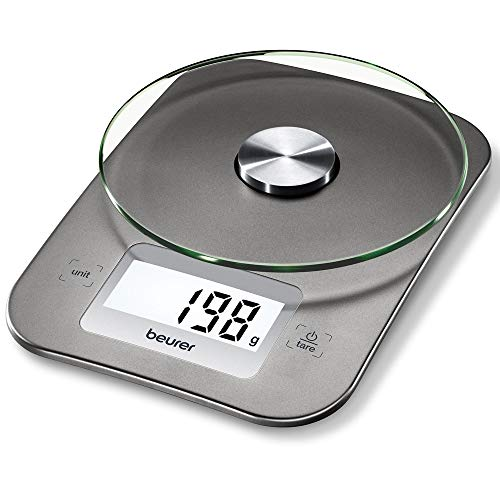 Beurer KS26 - Bascula de cocina 5kg / 1 gr, vidreo de seguridad, LCD de fácil lectura de 6.5 cm x 2.7 cm, boton táctil, apagado automático, superficie 15 cm, color silver