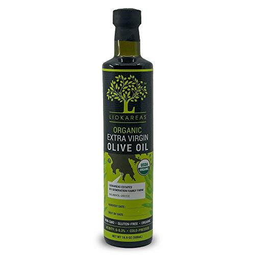 Organic Greek Extra Virgin Olive Oil - NonGMO - Gluten Free - USDA Certified Organic (16.9oz) - OU Kosher Certified - Single Sourced - Premium- Cold Pressed - Unfiltered - For Bread Dipping/Salads/Cooking/Baking - Hair & Skin Moisturizing - 2020 International Award Winning Organic Olive Oil