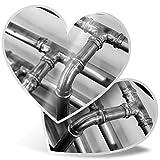 Impresionante 2 pegatinas de corazón de 15 cm – BW – Pipas de cobre para calefacción de fontanero calcomanías divertidas para computadoras portátiles, tabletas, equipaje, libros de chatarra, frigorífico, regalo genial #42734