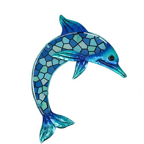Liffy regalo hecho a mano de metal con mosaico azul de cristal diseñado con paredes de delfines que decoran la residencia, patio, porche, piscina, cubierta, baño