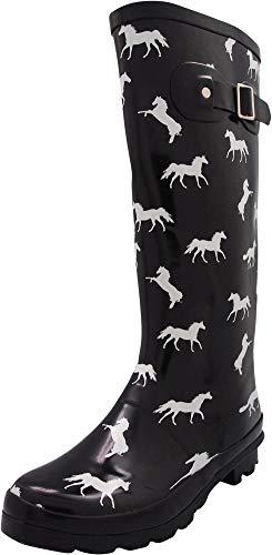 NORTY - Womens Hurricane Wellie Gloss Hi-Calf Horse Print Rain Boot, Black 40855-11B(M) US
