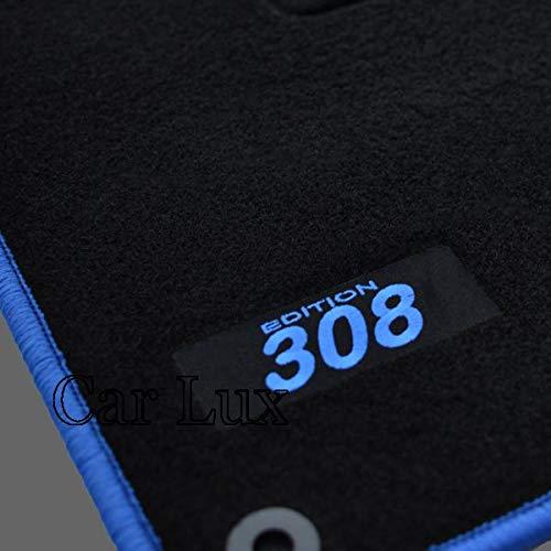 Car Lux AR03567 - Alfombras Alfombrillas Medida Edition Velour Ribete Azul para el 308